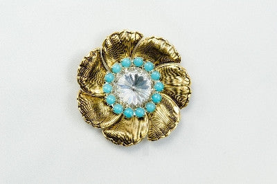 Magnetic Brooch - 7 Petal flower, gold metal, clear crystal and turquoise colored stones