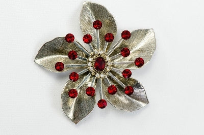 Magnetic Brooch - 5 Petal flower, Silver metal colored crystals - Call for In stock styles
