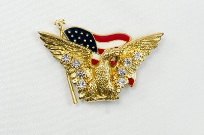 Magnetic Brooch - Eagle with US flag and clear crystals