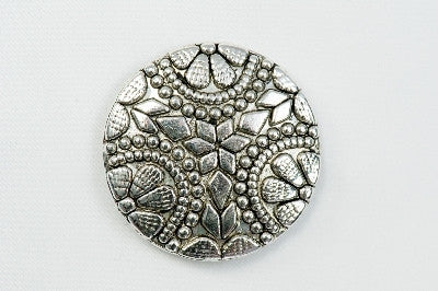 Magnetic Brooch - Flat flower, silver metal