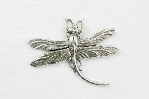 Magnetic Brooch - Small dragonfly , silver metal