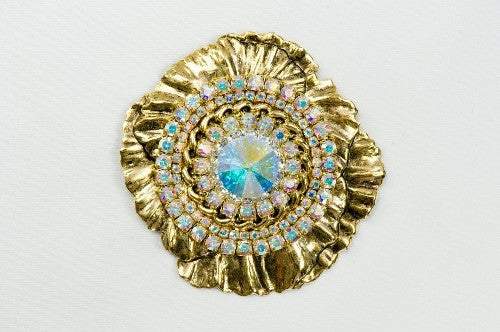 Magnetic Brooch -Large Peony, gold tone metal with AB color crystals