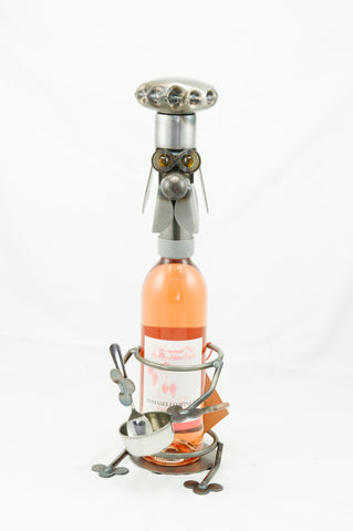 Chef Dog Wine Caddy Metal Sculpture