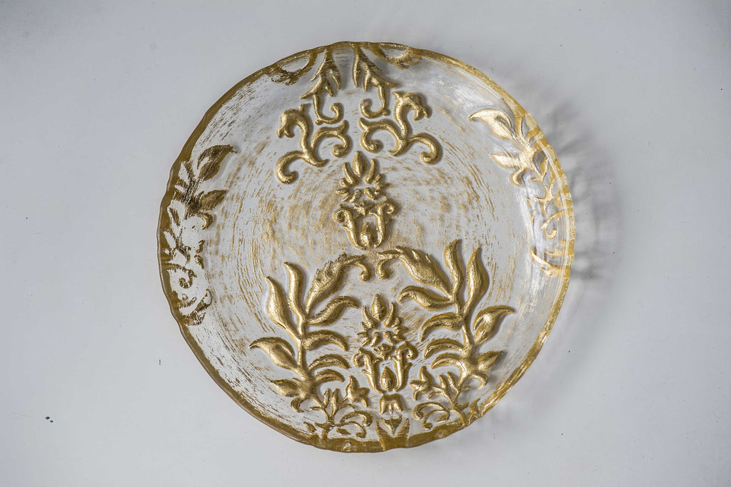 "Damask Canape Plate- 6""- Gold Clear"