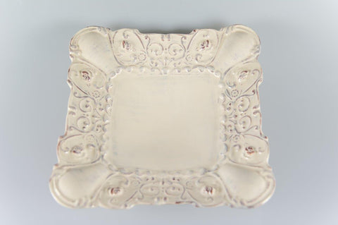 Baroque Cream Shallow Footed Square Bowl