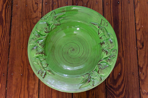 Baroque Green Large Salad Bowl with Fruits