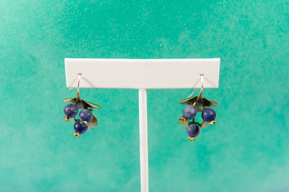 Silver Seasons- Blueberry Wire Hook Earrings