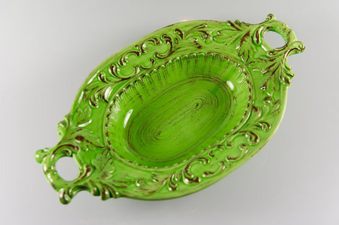 Baroque Green Oval 2 handle bowl