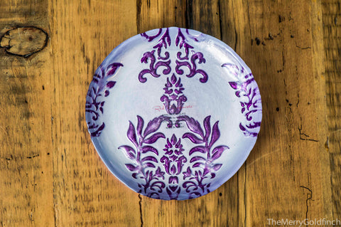 "Damask Canape Plate- 6""- Purple"