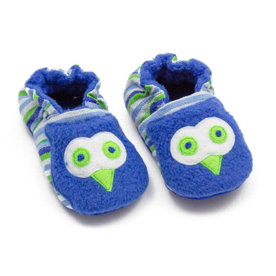 Fair Trade Owl Baby Booties Blue