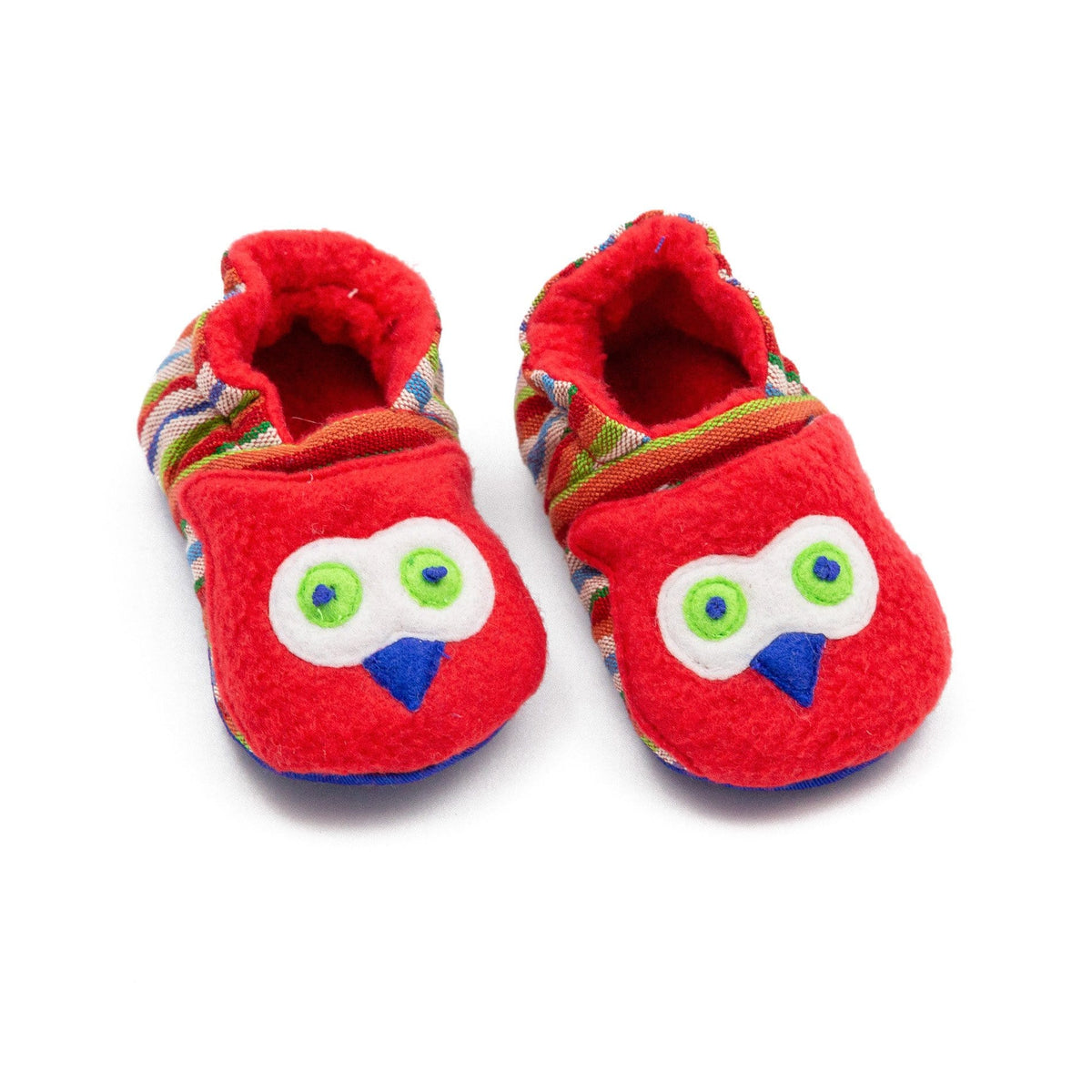 Fair Trade Owl Baby Booties Red