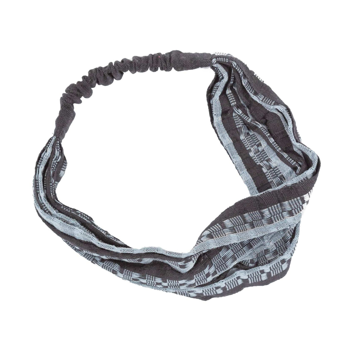 Handmade Bandanna-Style Lacy Headband Black and Grey