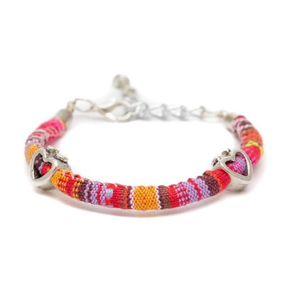 Bohemian Fabric and Bead Bracelet
