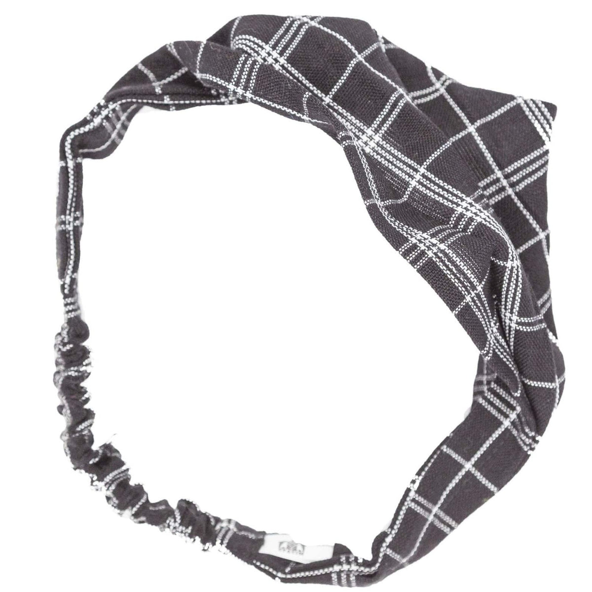 Handmade Boho Headband Black and White Plaid