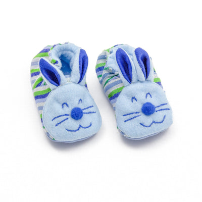 Fair Trade Bunny Baby Booties Blue