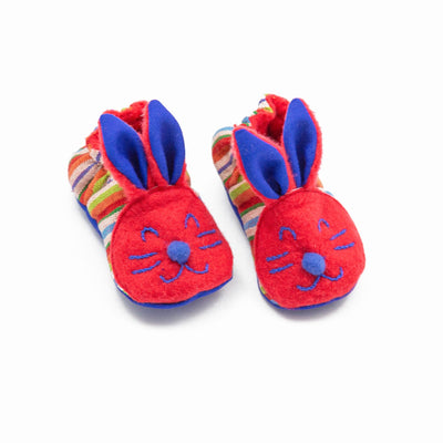 Fair Trade Bunny Baby Booties Red