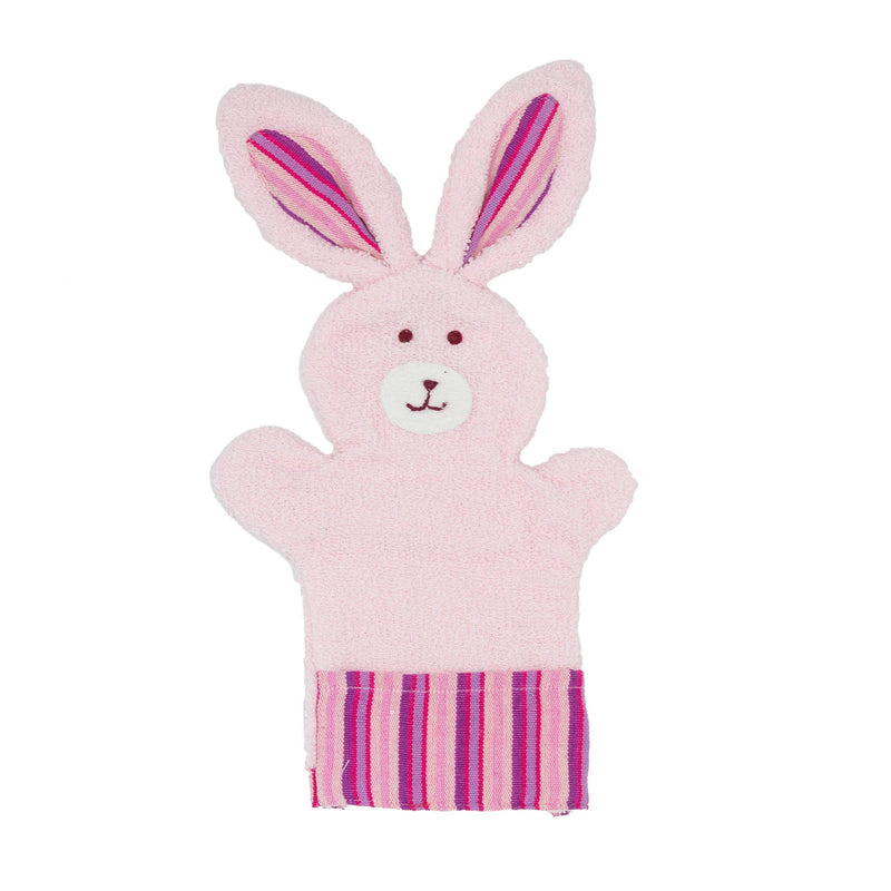 White and Pink Bunny Washcloth Puppet