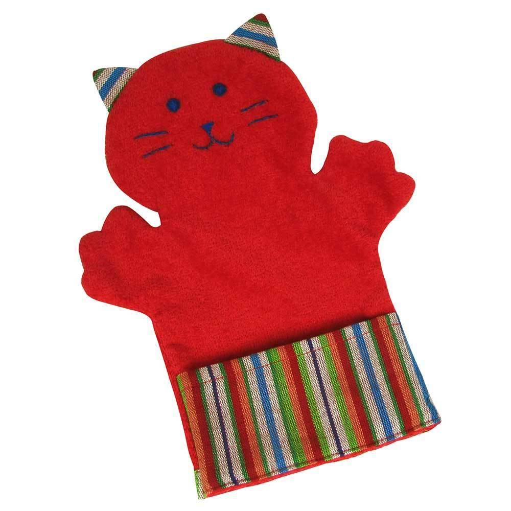 Fair Trade Puppet Washcloth Cat Red