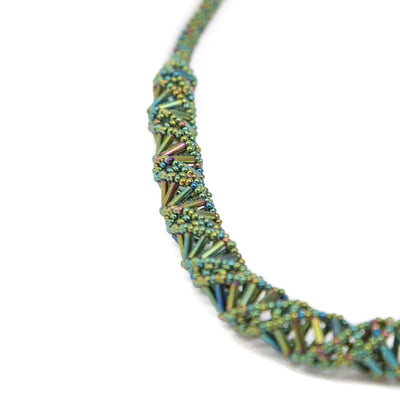 Guatemalan Double Helix Necklace Bright Green