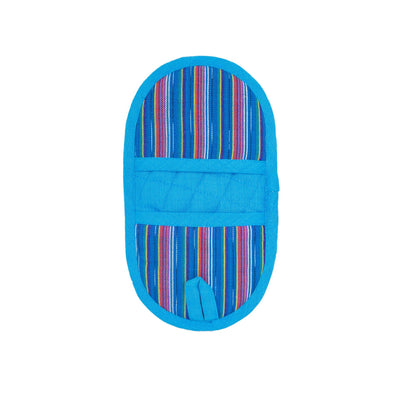 Double-Ended Oval Pot Holder - Blue Rainbow