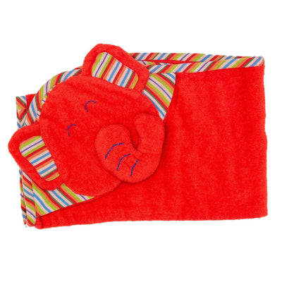 Kids Hooded Elephant Towel -Red