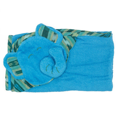 Kids Hooded Elephant Towel - Turquoise