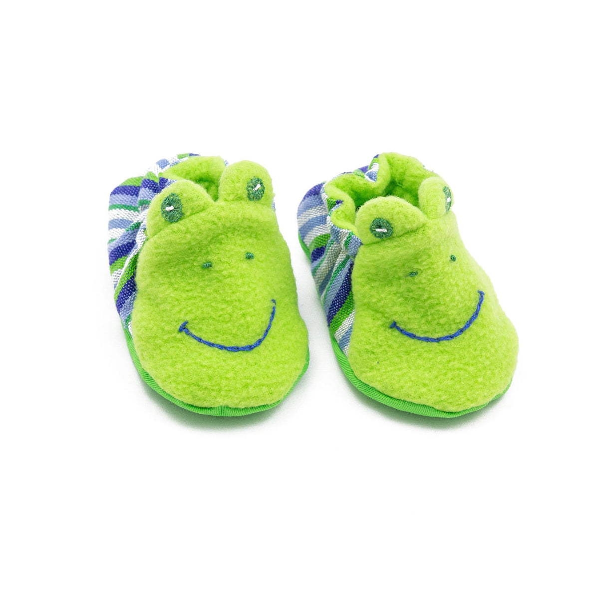 Fair Trade Frog Baby Booties Blue