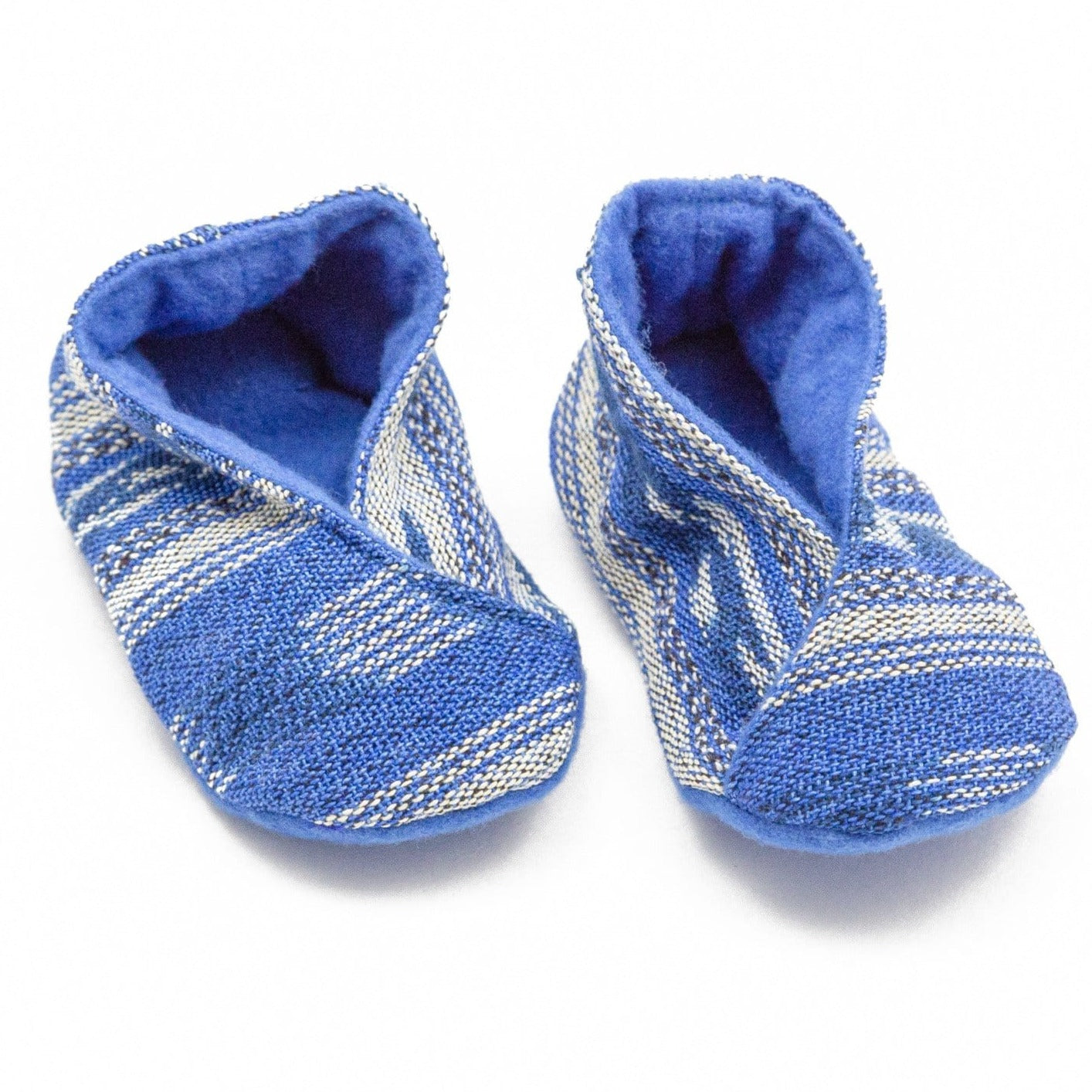 Fair Trade Handwoven Baby Booties Blue Jaspe