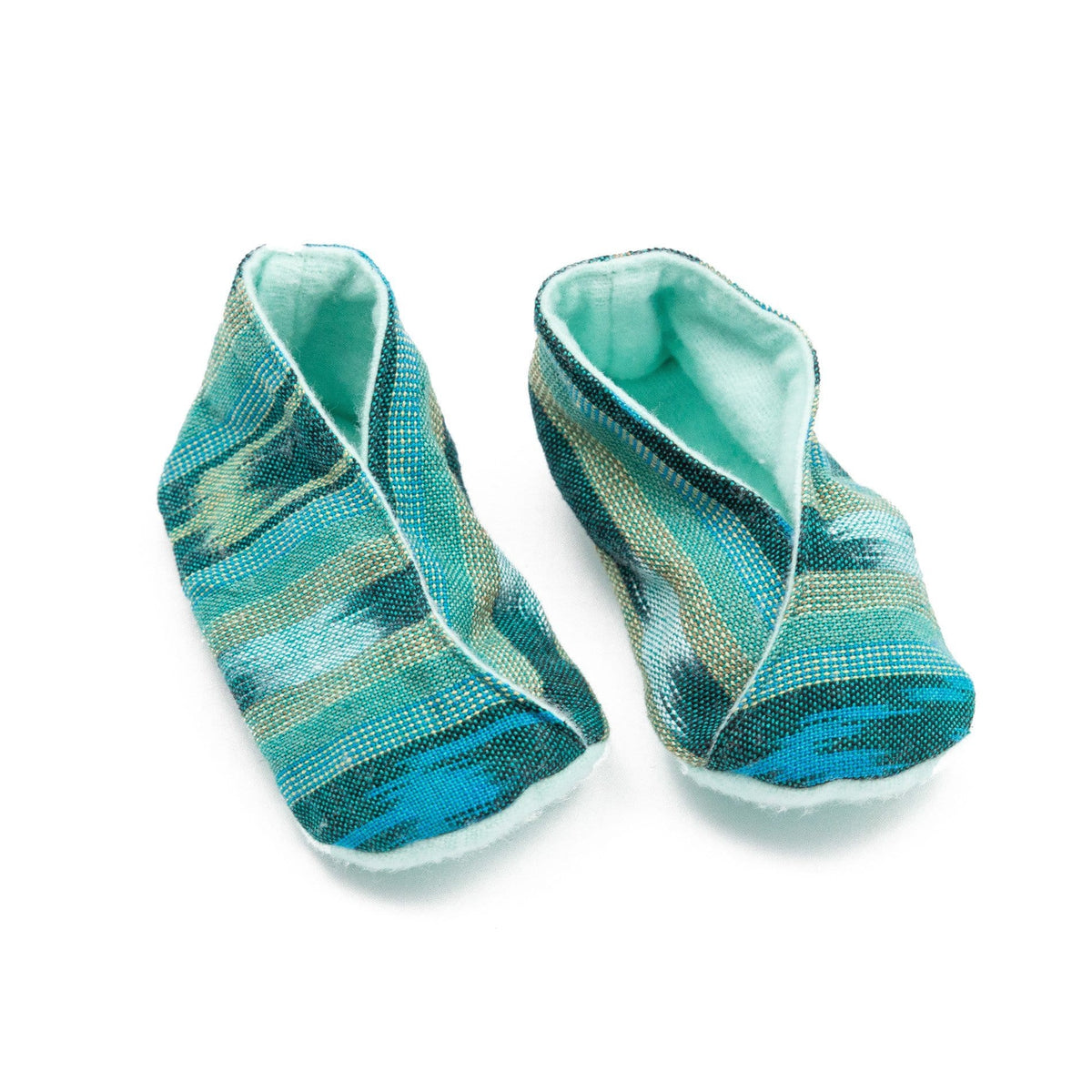 Fair Trade Handwoven Baby Booties Green Jaspe