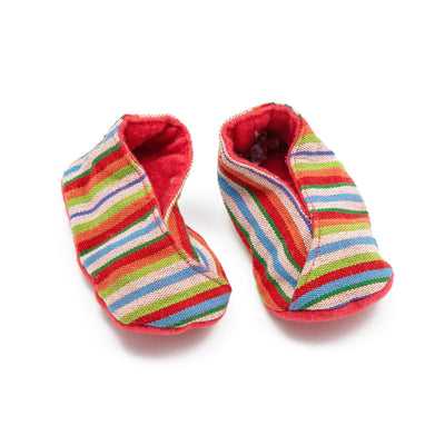 Fair Trade Handwoven Baby Booties Red