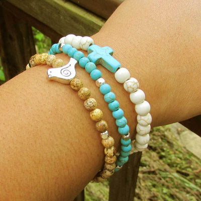 Set of Three Beaded Bracelets with Charm