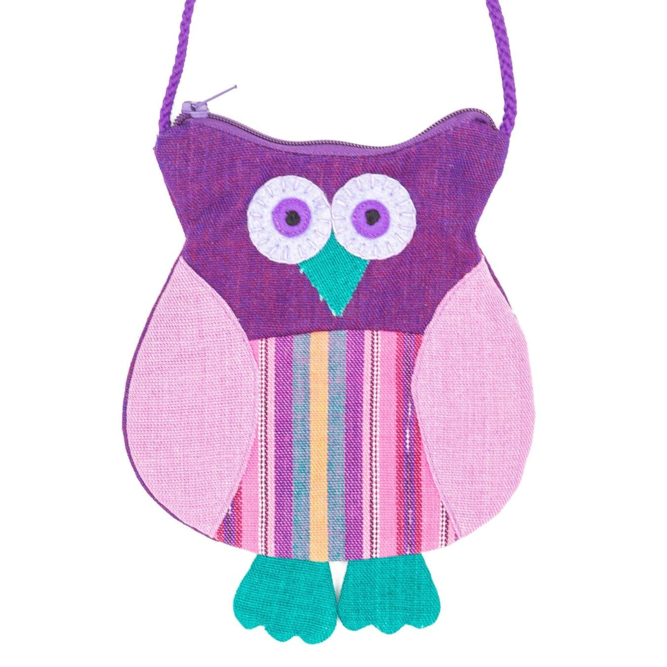 Fair Trade Owl Purse Purple