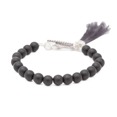 Round Bead Bracelet with Tassel Black