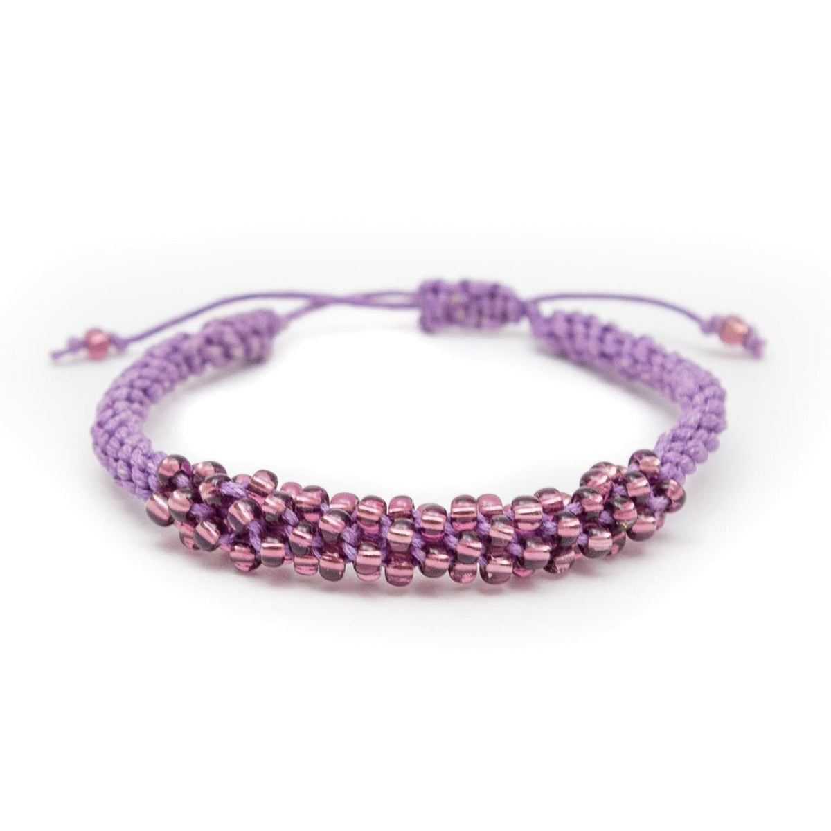 Fair Trade Bead Adjustable Bracelet Purple