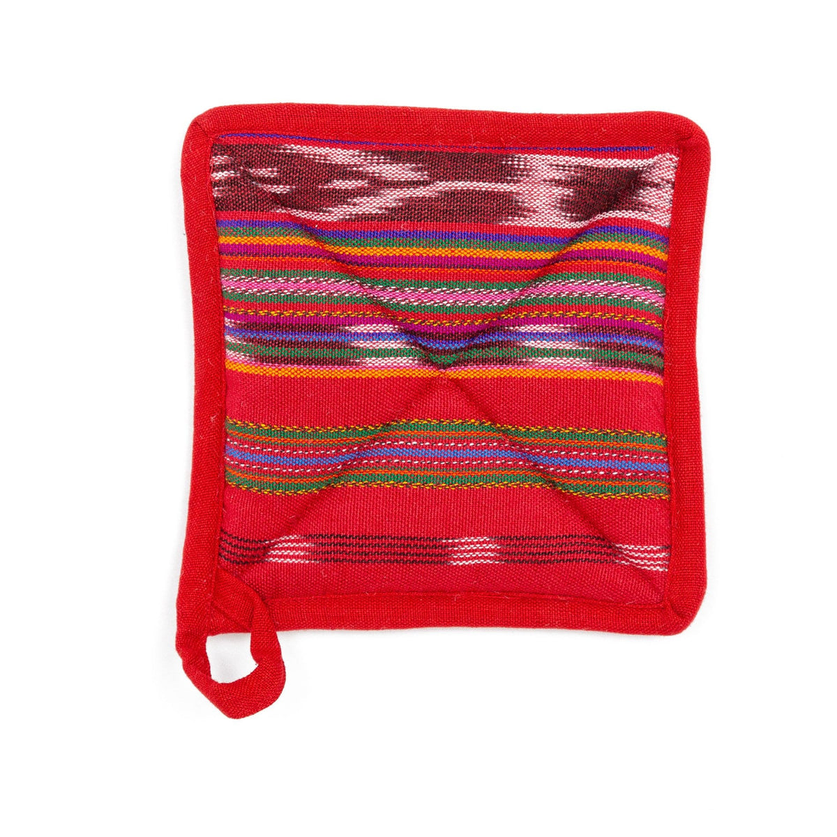 Fair Trade Handmade Pot Holder Festive Red