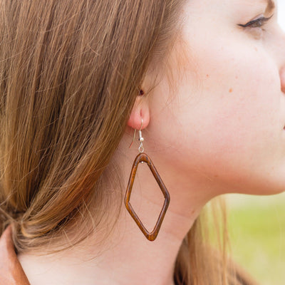 Wood Diamond Hoop Earrings