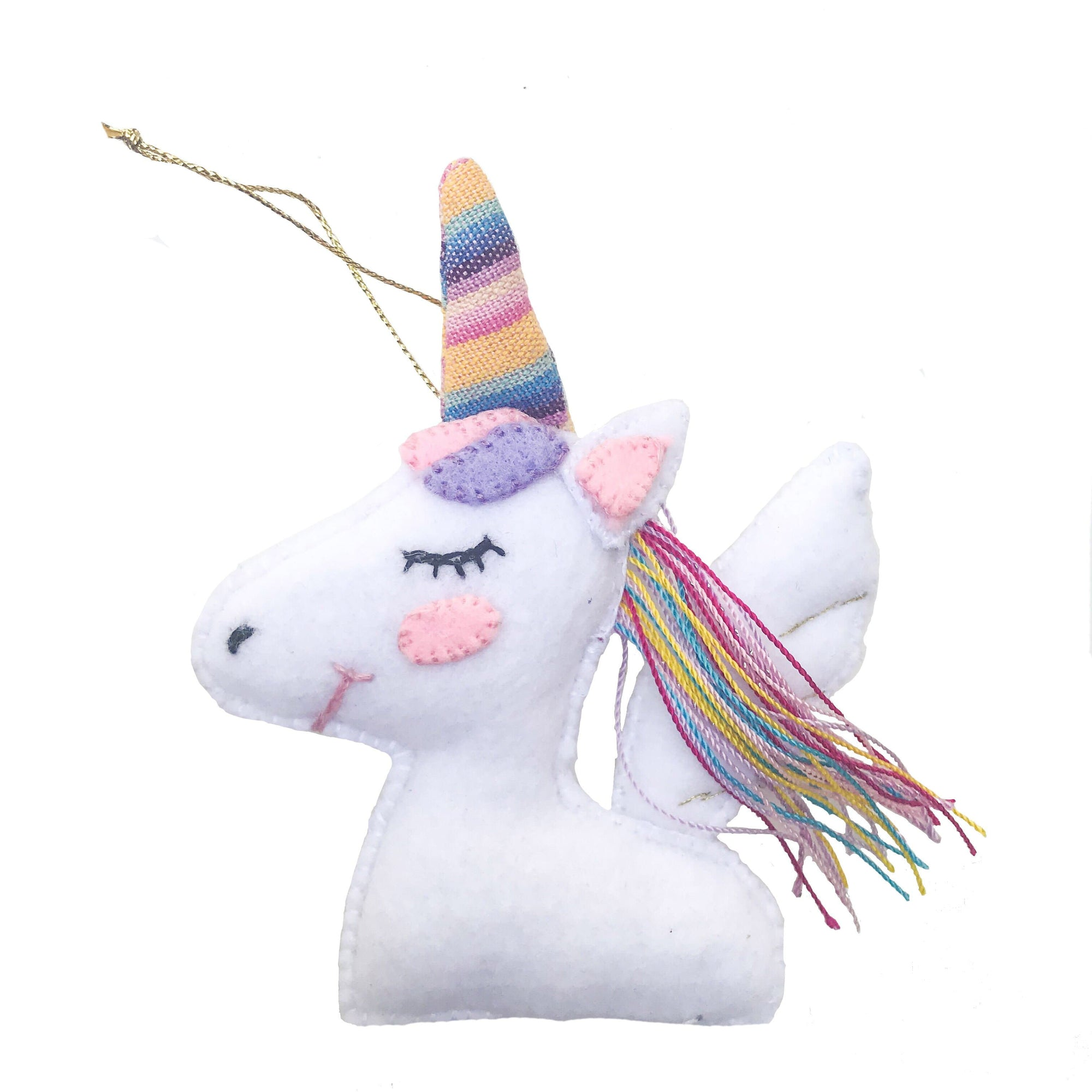 Handmade Felt Unicorn Ornament White