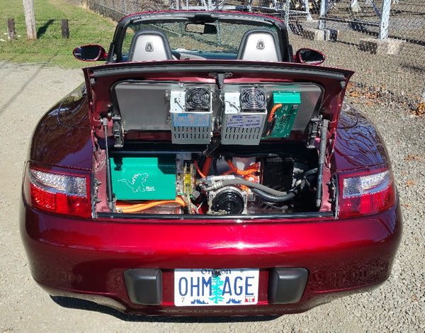 Rear view of Porsche 911 996 hood open, electrified by SHIFT EV