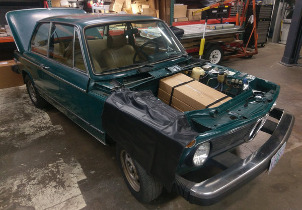 BMW 2002 Series, mocking up TESLA battery module placement