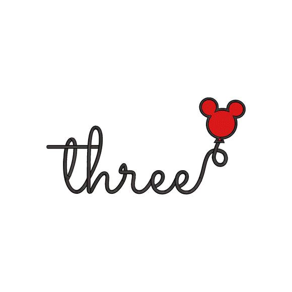 Disney inspired Third Birthday Machine Embroidery Design