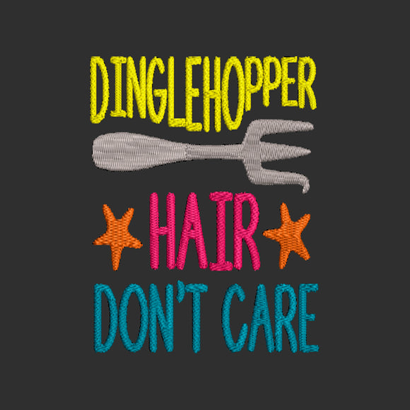 Disney My Little Mermaid inspired Machine Embroidery Design. Dinglehopper Hair, Don't Care.  Ariel