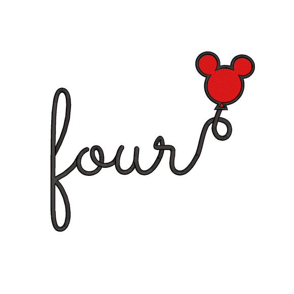 Disney inspired Fourth Birthday Machine Embroidery Design