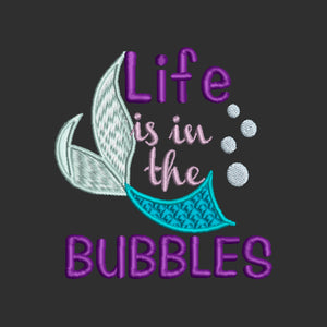Disney My Little Mermaid Ariel Inspired Machine Embroidery Life is in the Bubbles. 2 sizes