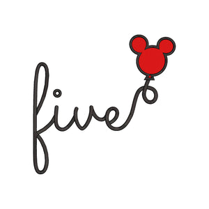 Disney inspired Fifth Birthday Machine Embroidery Design