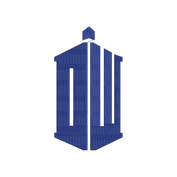 Dr. Who Tardis inspired Machine Embroidery Design. 11 sizes