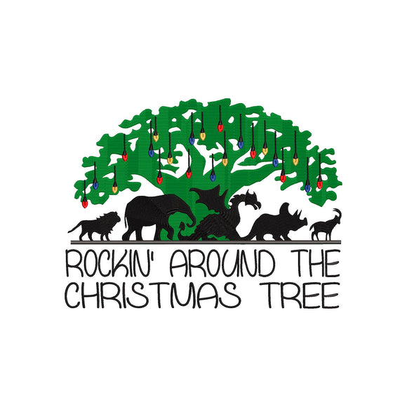 Christmas at Animal Kingdom inspired Machine Embroidery Design. Rockin' around the Christmas Tree