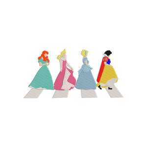Disney Beatles Mashup.  Abbey Road Cinderella, Snow White, Sleeping Beauty, Arial Inspired Machine Embroidery Design.  4 Sizes