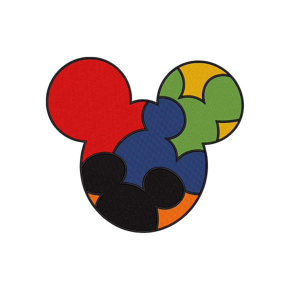 Autism Awareness Disney inspired Machine Embroidery Design. Puzzle, Puzzle Pieces