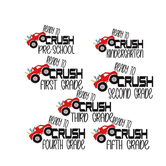 BUNDLE - Ready to Crush Preschool, Kindergarten, First, Second, Third, Fourth, and Fifth Grade Machine Embroidery File.  7 Designs 5 sizes