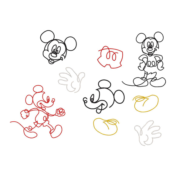 BUNDLE - Disney Inspired Doodle Mickey Machine Embroidery Design.